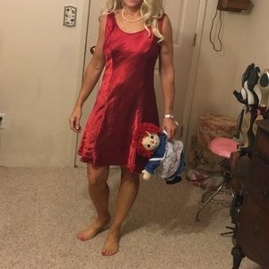 Vintage ruby red short satin nightgown